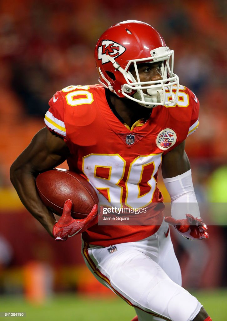 Wide receiver Jehu Chesson #80 of the Kansas City Chiefs in action during the game against the Tennessee Titans at Arrowhead Stadium on August 31, 2017 in Kansas City, Missouri.