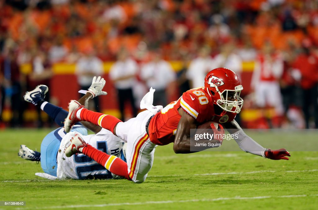 Wide receiver Jehu Chesson #80 of the Kansas City Chiefs makes a catch during the game against the Tennessee Titans at Arrowhead Stadium on August 31, 2017 in Kansas City, Missouri.