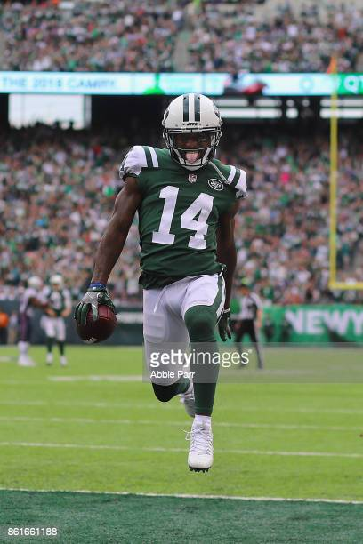 Wide receiver Jeremy Kerley of the New York Jets runs in a 31yard touchdown against the New England Patriots during the second quarter of their game...