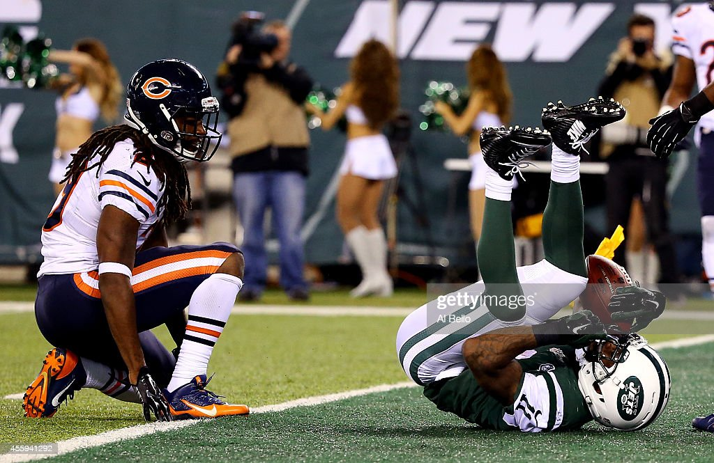 Wide receiver Jeremy Kerley #11 of the New York Jets scores a second quarter touchdown against the Chicago Bears during a game at MetLife Stadium on September 22, 2014 in East Rutherford, New Jersey.