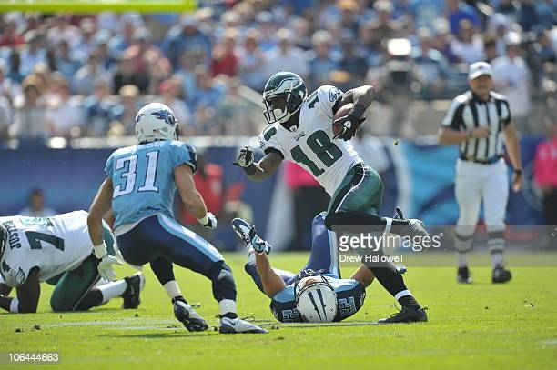 Wide Receiver Jeremy Macklin of the Philadelphia Eagles in action during the game against the Tennessee Titans at LP Field on October 24 2010 in...