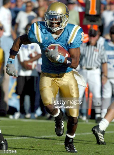 Wide receiver Jeremy McGee of the UCLA Bruins in a 13 to 9 victory over the USC Trojans on December 2 2006 at the Rose Bowl in Pasadena California