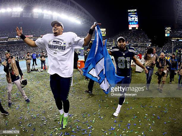 Wide receiver Jermaine Kearse and wide receiver Golden Tate of the Seattle Seahawks celebrate after the Seahawks 2317 victory against the San...