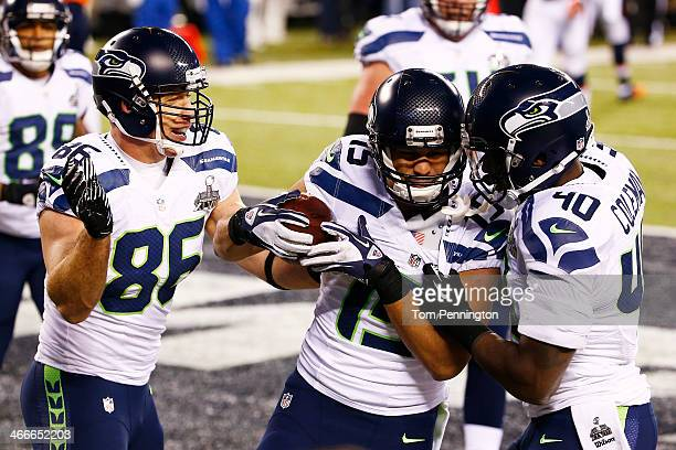 Wide receiver Jermaine Kearse of the Seattle Seahawks celebrates after scoring a 23 yard touchdown during Super Bowl XLVIII against the Denver...