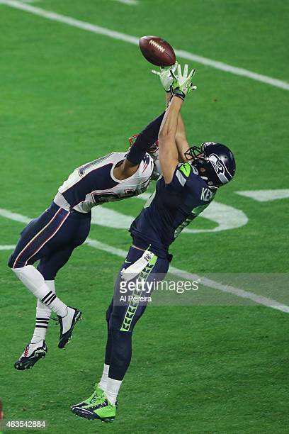 Wide receiver Jermaine Kearse of the Seattle Seahawks makes a long gain on a juggled ball against the New England Patriots in the Super Bowl at...