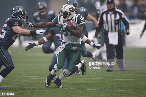 Wide Receiver Jerricho Cotchery of the New York Jets makes a catch against the Seattle Seahawks on December 21 2008 when the New York Jets play the...