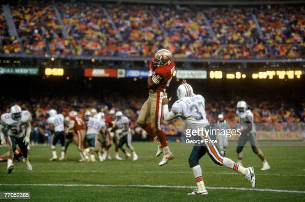 Wide receiver Jerry Rice of the San Francisco 49ers catches a 12yard touchdown reception against the Miami Dolphins defense during a game at...