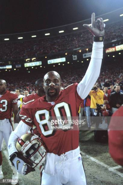Wide receiver Jerry Rice of the San Francisco 49ers celebrates after defeating the Denver Broncos 34 to 17 on .