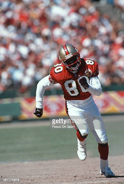 Wide Receiver Jerry Rice of the San Francisco 49ers in action against the St Louis Rams during an NFL football game September 8 1996 at Candlestick...