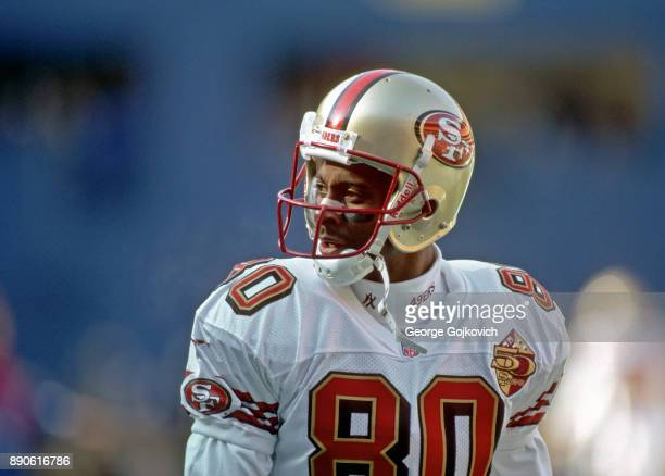 Wide receiver Jerry Rice of the San Francisco 49ers looks on from the field during a game against the Pittsburgh Steelers at Three Rivers Stadium on...