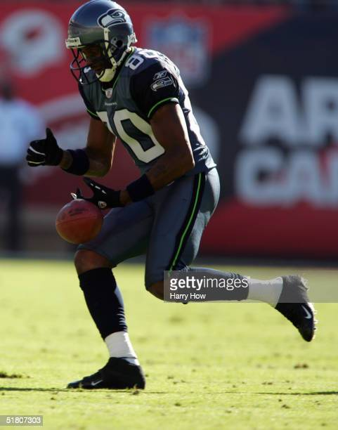 Wide receiver Jerry Rice of the Seattle Seahawks drops a pass during the game against the Arizona Cardinals at Sun Devil Stadium on October 24, 2004...
