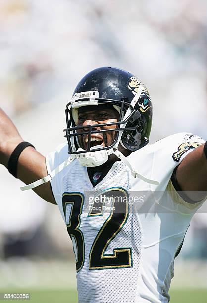 Wide receiver Jimmy Smith of the Jacksonville Jaguars celebrates after his first touchdown of the game against the Seattle Seahawks at ALLTEL Stadium...