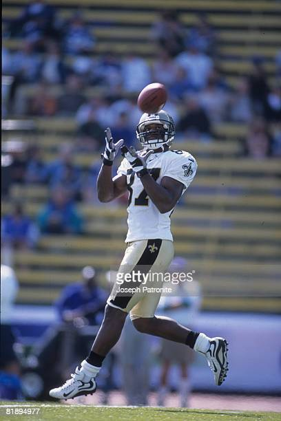 Wide receiver Joe Horn of the New Orleans Saints catches a pass prior to playing against the Seattle Seahawks at Husky Stadium in Seattle Washington...