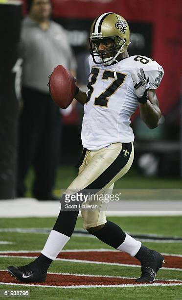 Wide receiver Joe Horn of the New Orleans Saints celebrates in the endzone during the game against the Atlanta Falcons at the Georgia Dome on...
