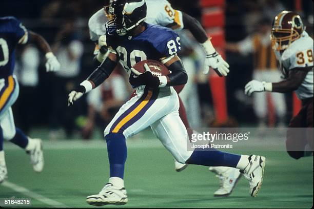 Wide receiver Joe Johnson of the Minnesota Vikings returns a kick against the Washington Redskins in the 1992 NFC Wildcard Game at the Metrodome on...
