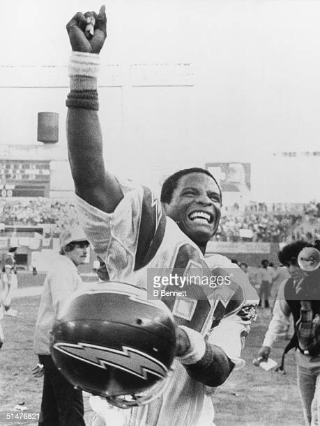 Wide receiver John Jefferson of the San Diego Chargers celebrates after defeating the Buffalo Bills 2014 in the AFC Divisional Playoffs at Jack...