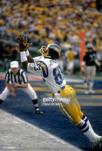 Wide Receiver John Jefferson of the San Diego Chargers in action against the Oakland Raiders circa late 1970's during an NFL Football game at Jack...