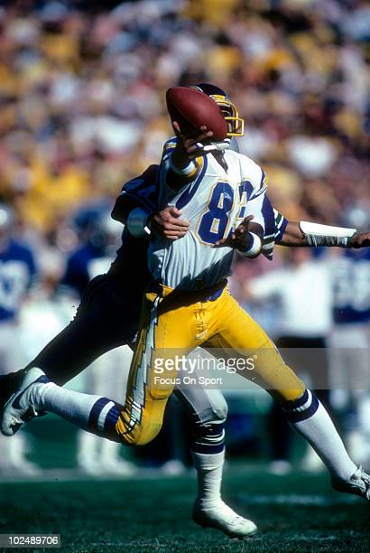 Wide Receiver John Jefferson of the San Diego Chargers in action against the Seattle Seahawks circa late 1970's during an NFL Football game at Jack...