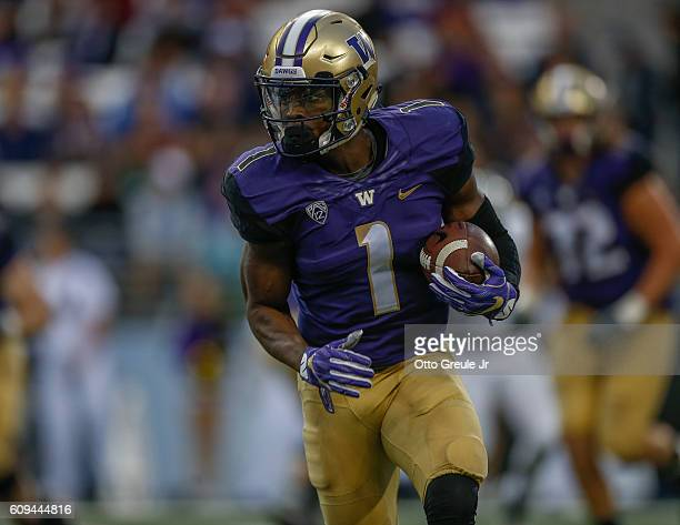 Wide receiver John Ross of the Washington Huskies rushes against the Portland State Vikings on September 17 2016 at Husky Stadium in Seattle...