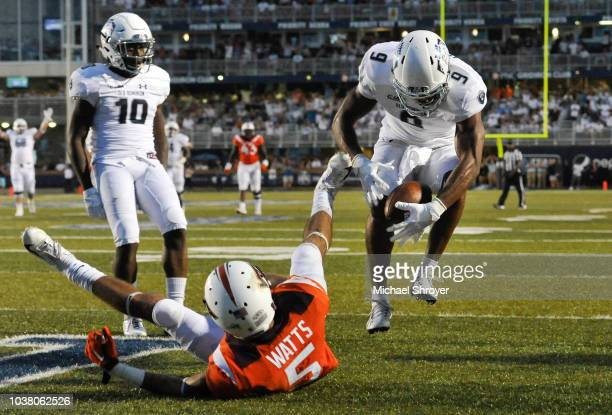 Wide receiver Jonathan Duhart of the Old Dominion Monarchs catches the game winning touchdown against the Virginia Tech Hokies at S B Ballard Stadium...