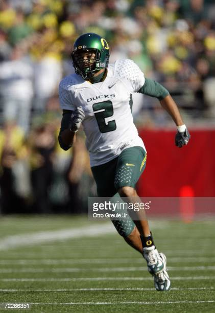 Wide receiver Jordan Kent of the Oregon Ducks runs downfield against the Washington State Cougars on October 21 2006 at Martin Stadium in Pullman...