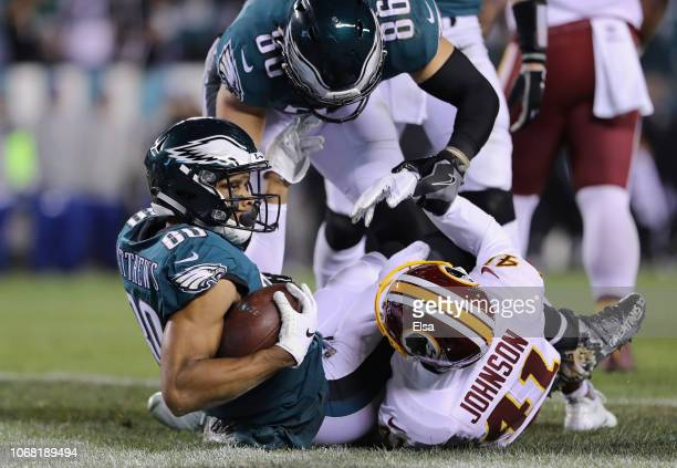 Wide receiver Jordan Matthews of the Philadelphia Eagles scores a touchdown against the Washington Redskins during the fourth quarter at Lincoln...