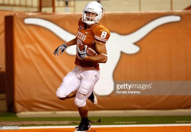 Wide receiver Jordan Shipley of the Texas Longhorns runs for a touchdown against the Kansas Jayhawks at Darrell K Royal-Texas Memorial Stadium on...