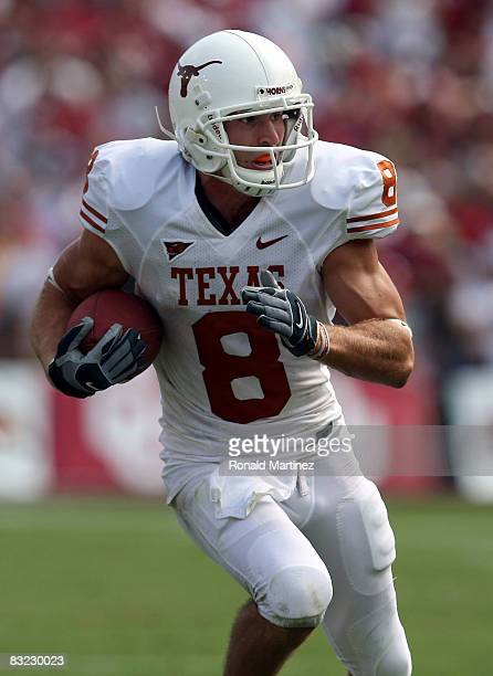 Wide receiver Jordan Shipley of the Texas Longhorns runs the ball against the Oklahoma Sooners during the Red River Rivalry at the Cotton Bowl on...