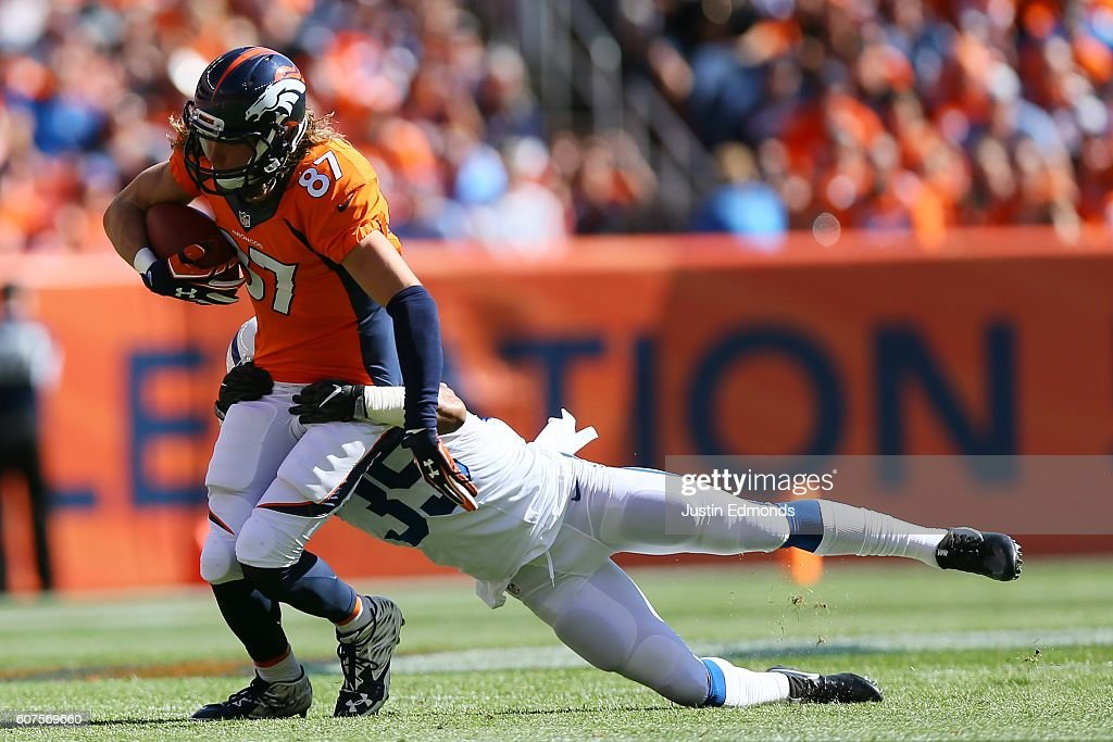Wide receiver Jordan Taylor #87 of the Denver Broncos catches a ball for a first down in the second quarter of the game against the Indianapolis Colts at Sports Authority Field at Mile High on September 18, 2016 in Denver, Colorado.