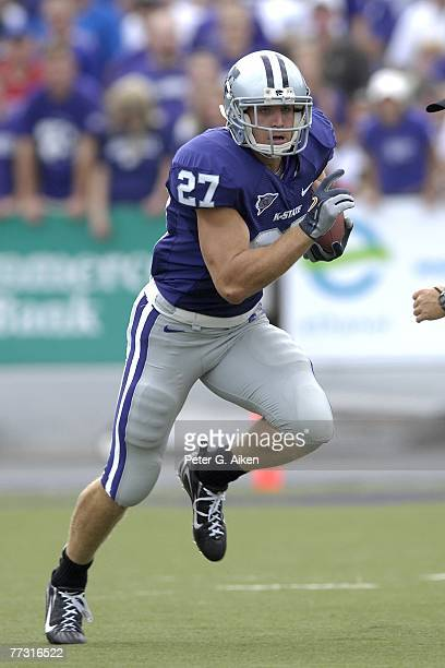 Wide receiver Jordy Nelson of the Kansas State Wildcats rushes up field against the Kansas Jayhawks during a NCAA football game on October 06 2007 at...
