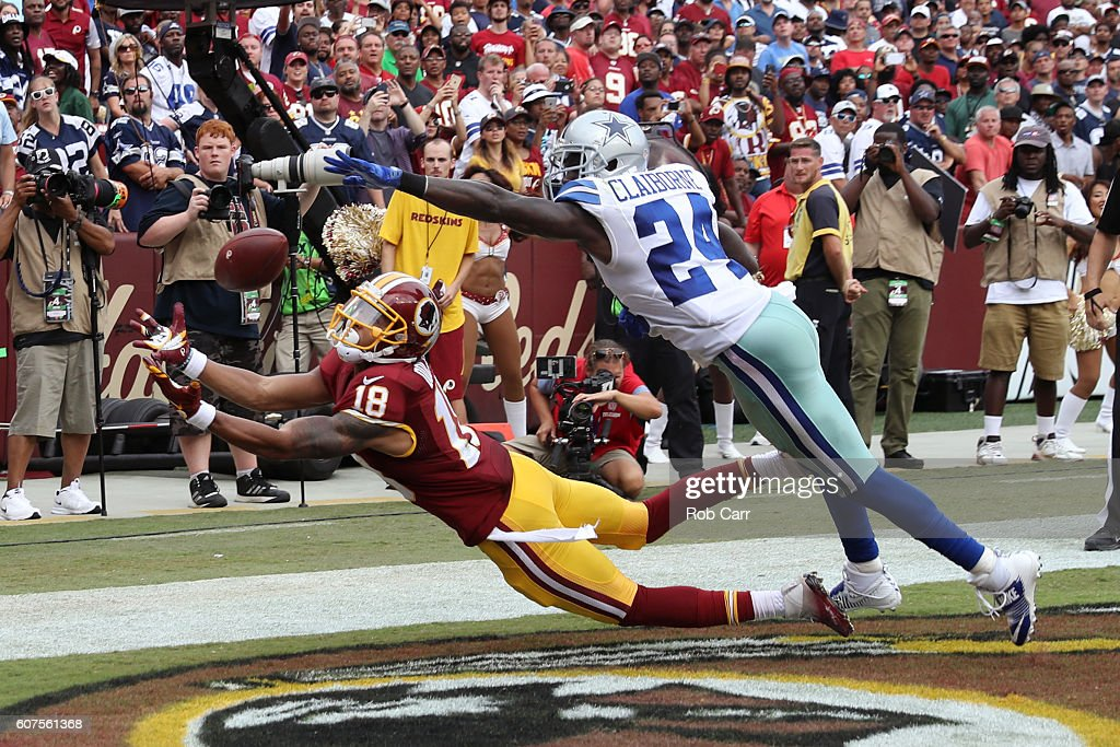 Wide receiver Josh Doctson #18 of the Washington Redskins misses a catch against cornerback Morris Claiborne #24 of the Dallas Cowboys in the second half at FedExField on September 18, 2016 in Landover, Maryland.