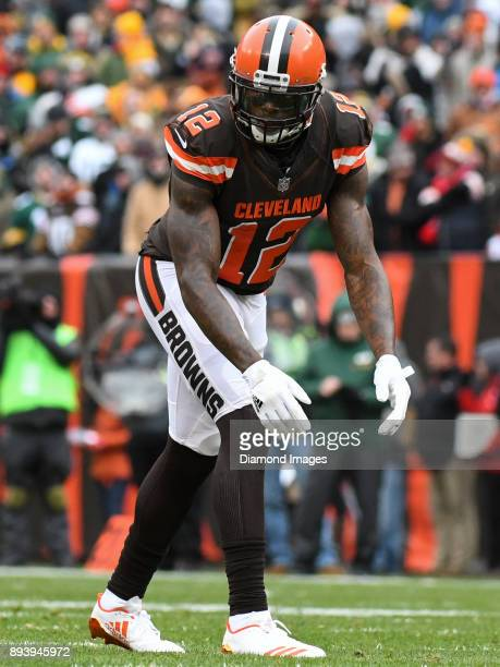 Wide receiver Josh Gordon of the Cleveland Browns awaits the snap from his position in the first quarter of a game on December 10 2017 against the...