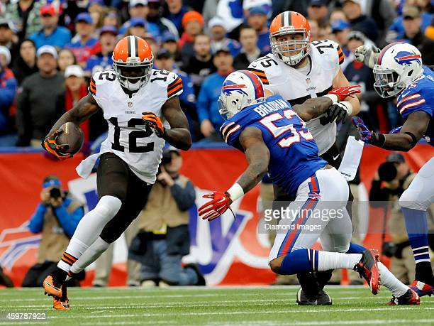 Wide receiver Josh Gordon of the Cleveland Browns carries the ball during a game against the Buffalo Bills on November 30 2014 at Ralph Wilson...