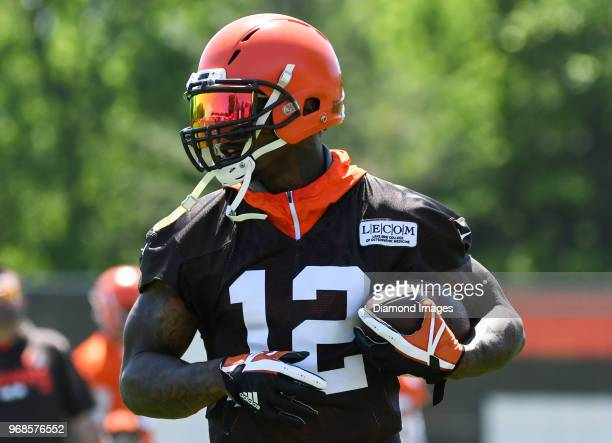 Wide receiver Josh Gordon of the Cleveland Browns carries the ball during an OTA practice at the Cleveland Browns training facility in Berea Ohio