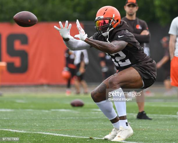 Wide receiver Josh Gordon of the Cleveland Browns catches a pass during a mandatory mini camp on June 12 2018 at the Cleveland Browns training...