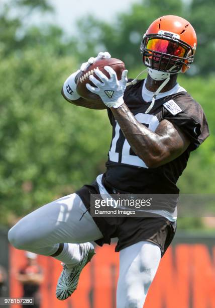 Wide receiver Josh Gordon of the Cleveland Browns catches a pass during a mandatory mini camp on June 13 2018 at the Cleveland Browns training...