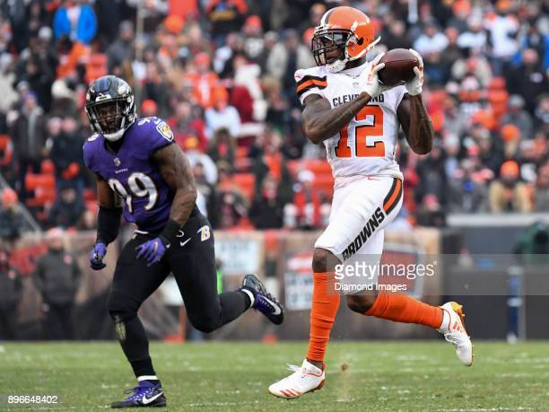 Wide receiver Josh Gordon of the Cleveland Browns catches a pass in the second quarter of a game on December 17 2017 against the Baltimore Ravens at...