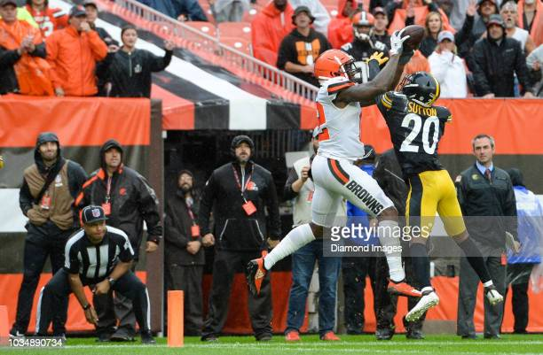 Wide receiver Josh Gordon of the Cleveland Browns catches a touchdown pass against cornerback Cameron Sutton of the Pittsburgh Steelers in the fourth...