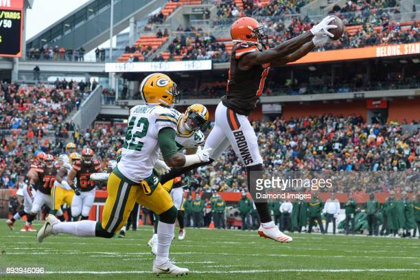 Wide receiver Josh Gordon of the Cleveland Browns catches a touchdown pass in the first quarter of a game on December 10 2017 against the Green Bay...