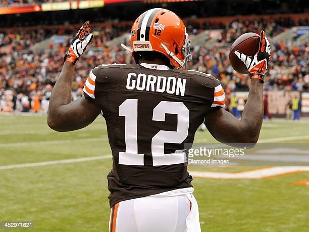 Wide receiver Josh Gordon of the Cleveland Browns celebrates a touchdown during a game against the Jacksonville Jaguars on December 1 2013 at...