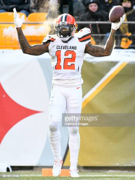 Wide receiver Josh Gordon of the Cleveland Browns celebrates a reception in the second quarter of a game on December 31 2017 against the Pittsburgh...