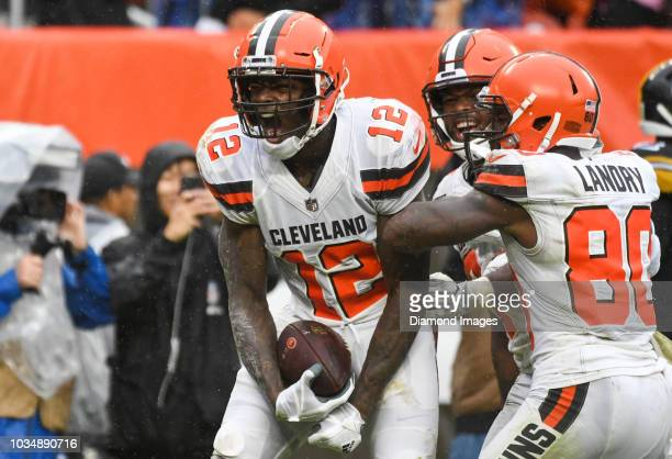 Wide receiver Josh Gordon of the Cleveland Browns celebrates after catching a touchdown pass in the fourth quarter of a game against the Pittsburgh...
