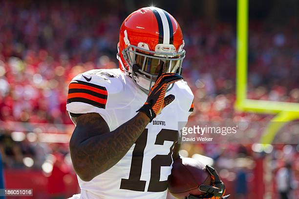 Wide receiver Josh Gordon of the Cleveland Browns celebrates after scoring a touchdown during the game against the Kansas City Chiefs at Arrowhead...