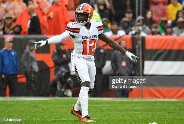 Wide receiver Josh Gordon of the Cleveland Browns gestures toward the sideline in the first quarter of a game against the Pittsburgh Steelers on...