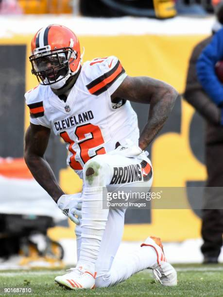 Wide receiver Josh Gordon of the Cleveland Browns kneels on the field after an incomplete pass in the third quarter of a game on December 31 2017...