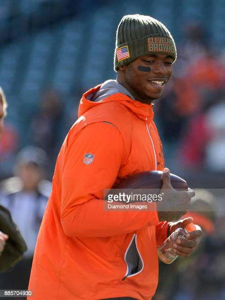 Wide receiver Josh Gordon of the Cleveland Browns laughs as he runs the field prior to a game on November 26 2017 against the Cincinnati Bengals at...