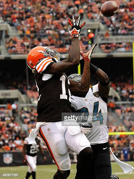 Wide receiver Josh Gordon of the Cleveland Browns prepares to catch a pass for a touchdown during a game against the Jacksonville Jaguars on December...