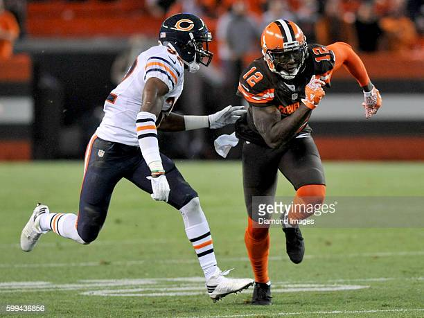 Wide receiver Josh Gordon of the Cleveland Browns runs a route during a preseason game against the Chicago Bears on September 1 2016 at FirstEnergy...