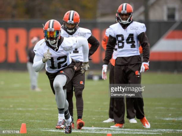 Wide receiver Josh Gordon of the Cleveland Browns runs a route during a practice on November 22 2017 at the Cleveland Browns training complex in...