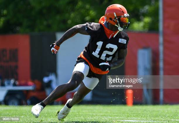 Wide receiver Josh Gordon of the Cleveland Browns runs a route during an OTA practice at the Cleveland Browns training facility in Berea Ohio